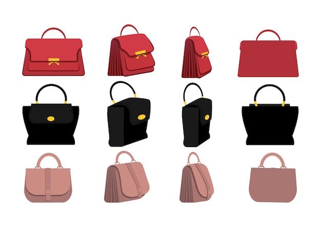 Набор стильных женских сумочек в плоском дизайне. спереди, сбоку, сзади, 3-4 вида персонажа.