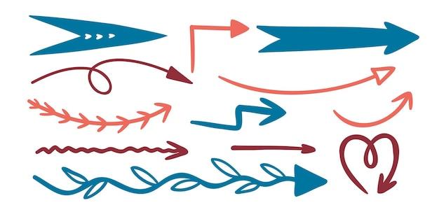 さまざまな形やテクスチャの定型化された落書き矢印のセット