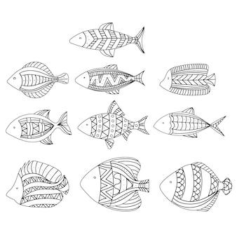 양식에 일치시키는 물고기의 집합입니다. 수족관 물고기의 컬렉션입니다. 리니어 아트.