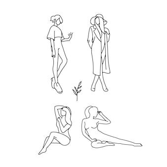 Набор стилизованных силуэтов женского тела. модный линейный дизайн. рисованной иллюстрации.