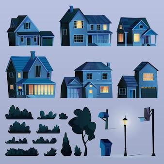 늦은 저녁 코티지 하우스 나무 조명이 있는 야간 건물의 교외 거리 요소 세트