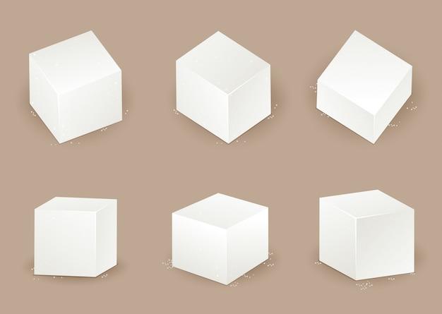 다른 각도에서 설탕 큐브 세트