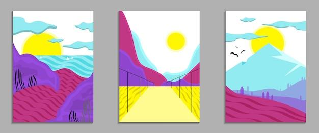 Набор летних абстрактный современный пейзаж плакат баннер графический фон