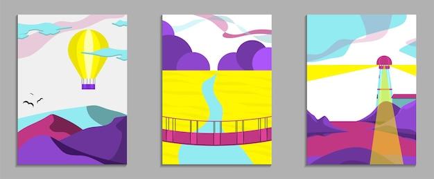 Набор летних абстрактных современный пейзаж плакат баннер графика, фон.