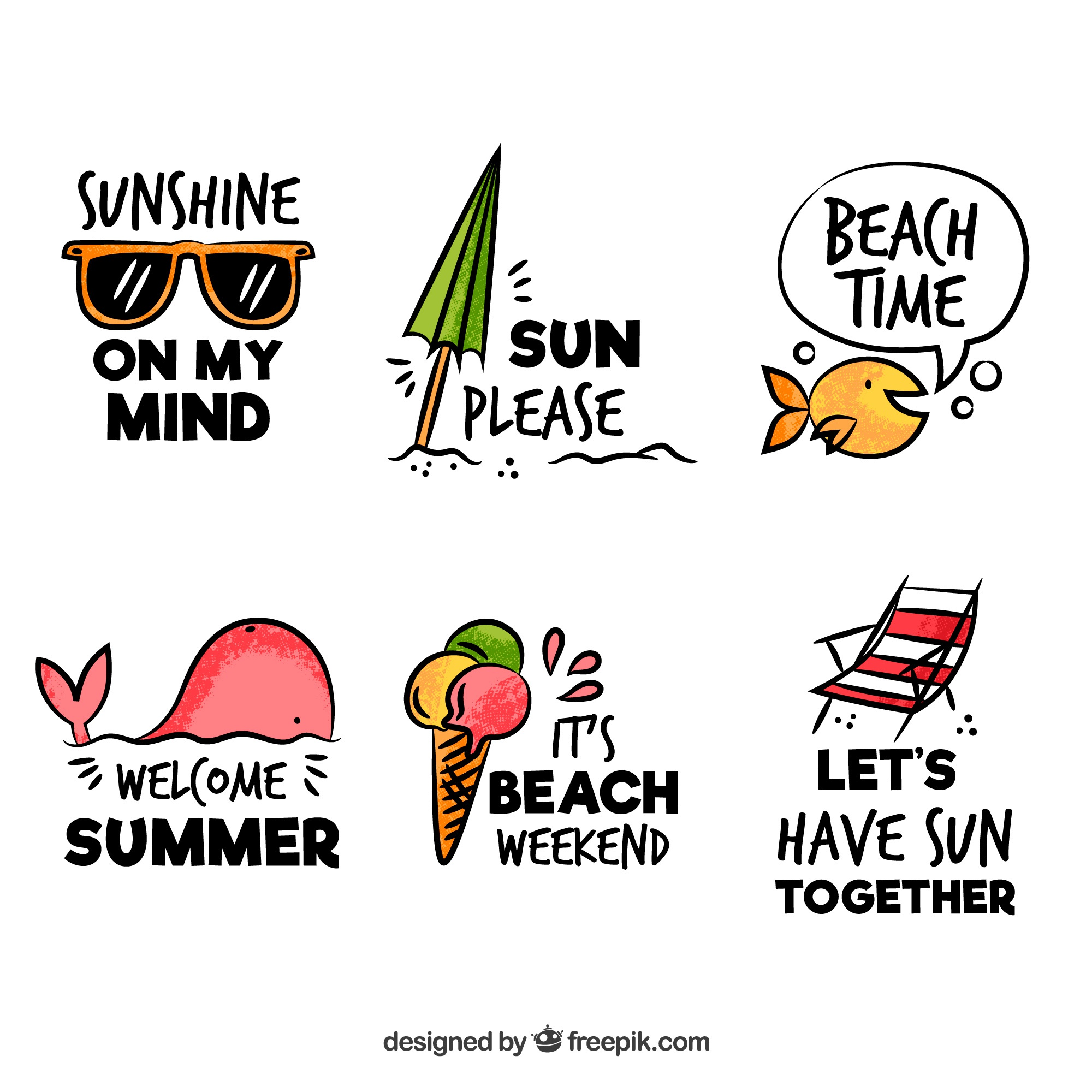 Set of summer badges with beach elements in hand drawn style