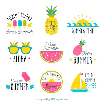 Set of summer badges with beach elements