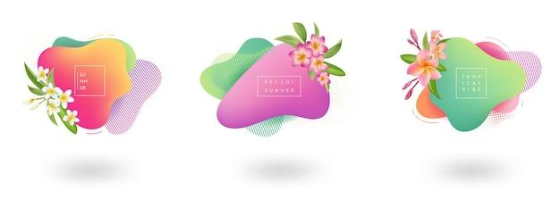 夏のバナーテンプレートのセットです。花、熱帯の流体バブル、カード、パンフレット、季節のデザインのプロモーションバッジと熱帯の液体の幾何学的形状の背景。ベクトルイラスト