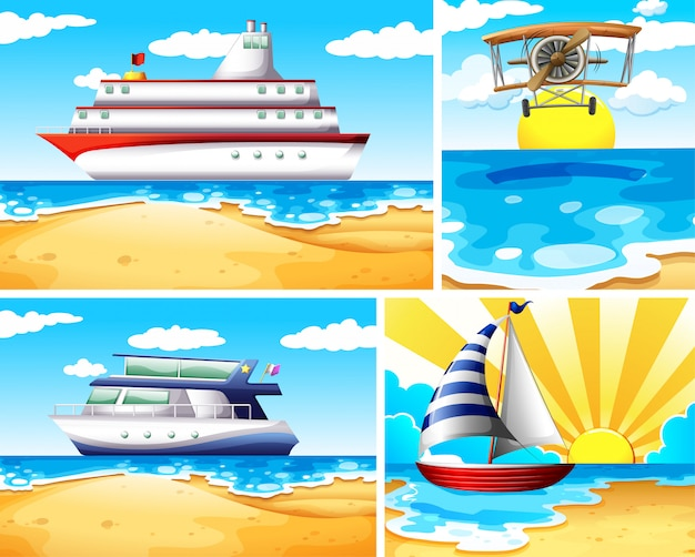 Набор летнего пляжа фона