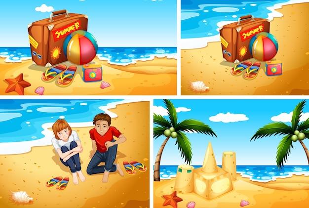 夏のビーチの背景のセット