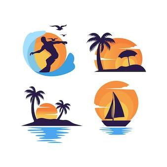 Набор значков летнего пляжа