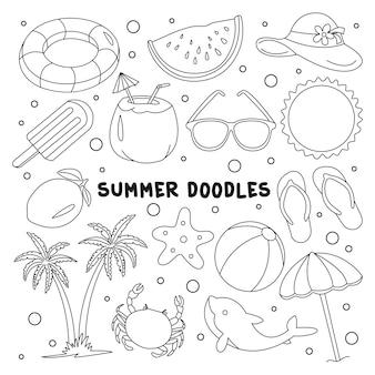Набор летнего пляжа каракули векторные иллюстрации элемент