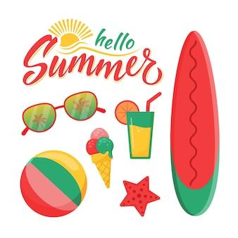 Набор элементов летнего пляжа в плоском стиле