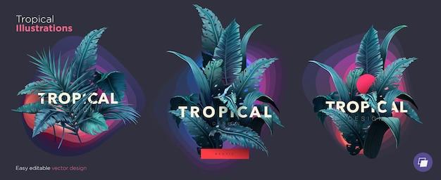 Набор летних ярких тропических элементов дизайна печать на футболках, толстовках