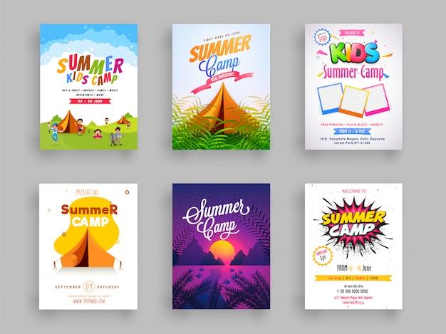 여름 캠프 전단지 또는 서식 파일 디자인의 집합입니다.