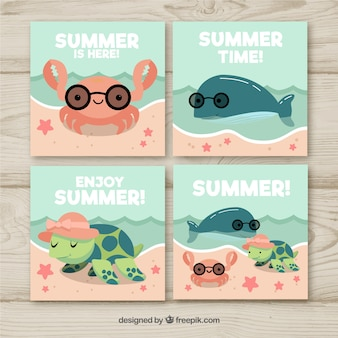 Set of summer cards with aquatic animals