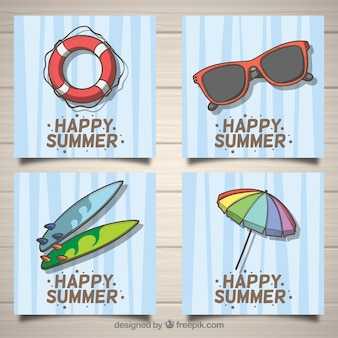 Set of summer cards with beach elements