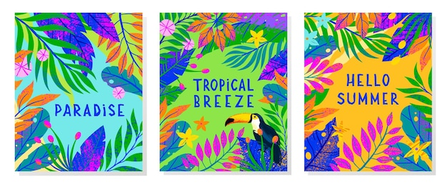 Набор летних открыток с яркими тропическими листьями, цветами и туканом.