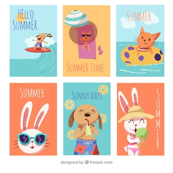 Set of summer cards with cute animals