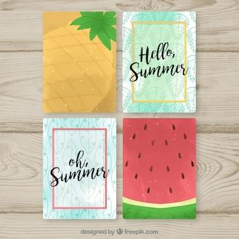 Набор летних карточек со свежими фруктами