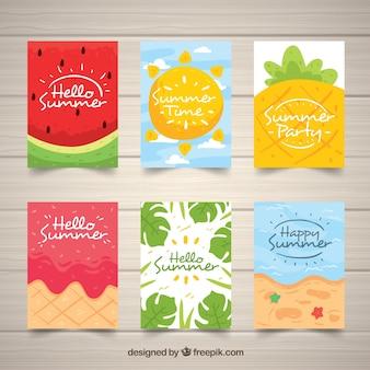 Набор летних карточек с фруктами и пляжем