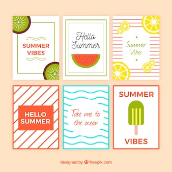 Set of summer cards with fruits and lines pattern