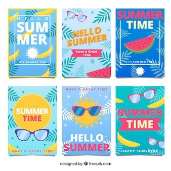 フルーツとサングラスと夏のカードのセット