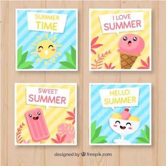 アイスクリームの漫画と夏のカードのセット