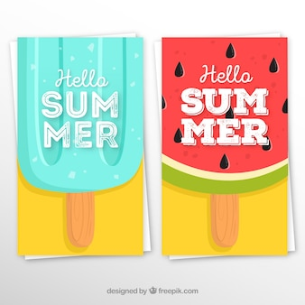 Set of summer cards with ice creams of fruits