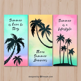 Set of summer cards with palm trees silhouette