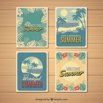 Set of summer cards with plants in vintage style