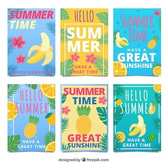 Set of summer cards with tropical fruits