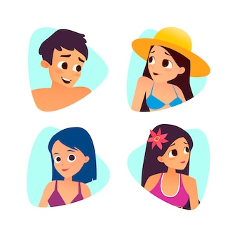 Набор летних мультфильмов аватары. мультяшный стиль