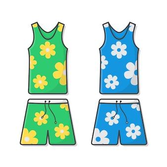 夏服イラストのセットです。アロハシャツとビーチサマーショーツ。夏休みのコンセプト