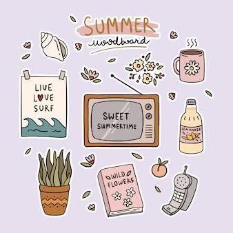夏のかわいい要素ムードボードのセット