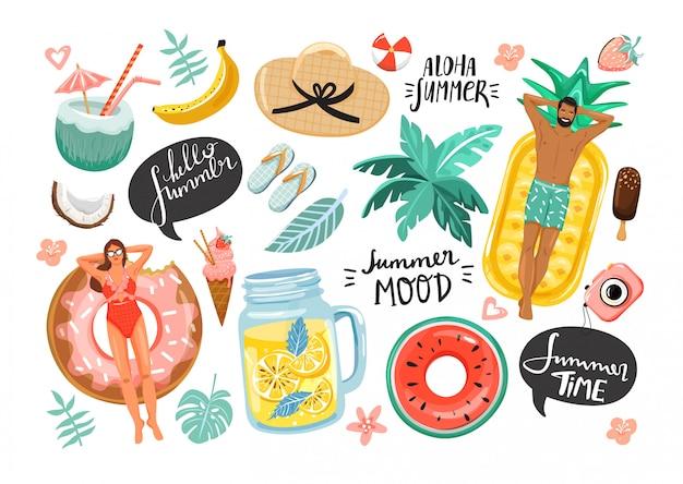 Набор летних милых элементов