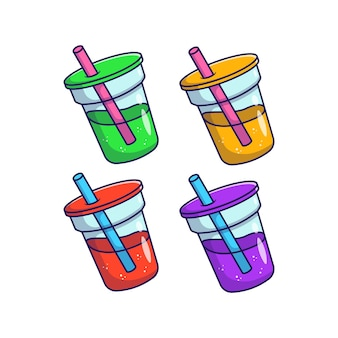 分離された明るい色のフラットイラストとカップの夏の飲み物のセット
