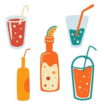 夏の飲み物のセット。缶のソフトドリンクのベクトルセット。夏休みとビーチパーティー。トレンディなイラスト。ベクトル漫画すべての要素が分離されています