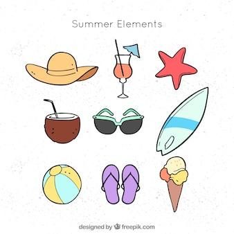 여름 요소 집합이 손으로 그린 스타일