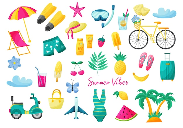 손으로 그린 스타일의 여름 요소 세트