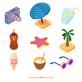 Set of summer elements in isometric style
