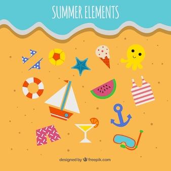 모래에 여름 요소 집합