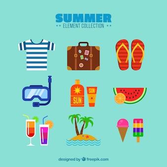 フラットスタイルの衣服と夏の要素のセット