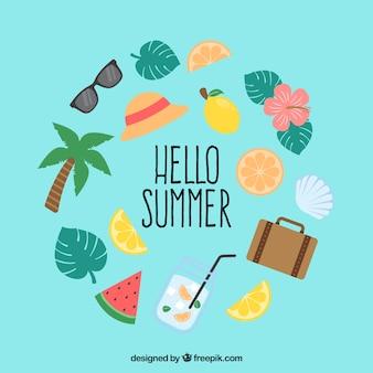 食べ物や服を手にした夏の要素セット