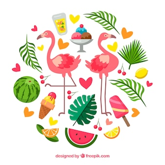 Set of summer elements with food and plants in hand drawn style