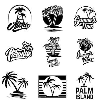 夏のエンブレムと要素のセットです。ロゴ、ラベル、ポスター、印刷、カード、バナー、記号のデザイン要素。画像