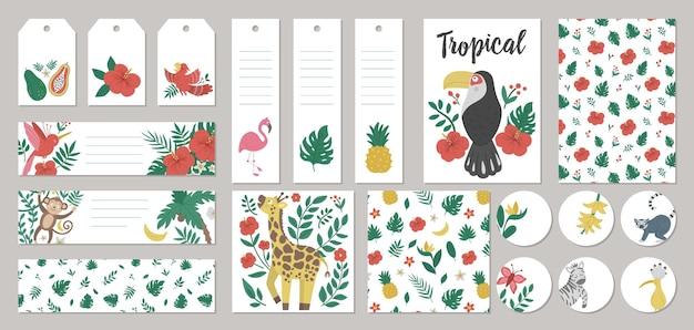 여름 선물 태그, 라벨, 미리 만들어진 디자인, 열대 동물, 식물, 꽃, 과일 북마크 세트.