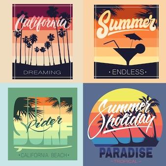 의류 티셔츠 및 기타 용도를 위한 여름 손 글자 인쇄 세트