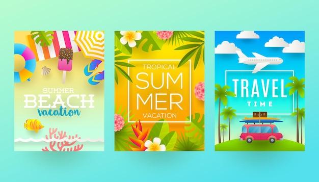 Набор плакатов летних каникул и тропических каникул или поздравительной открытки