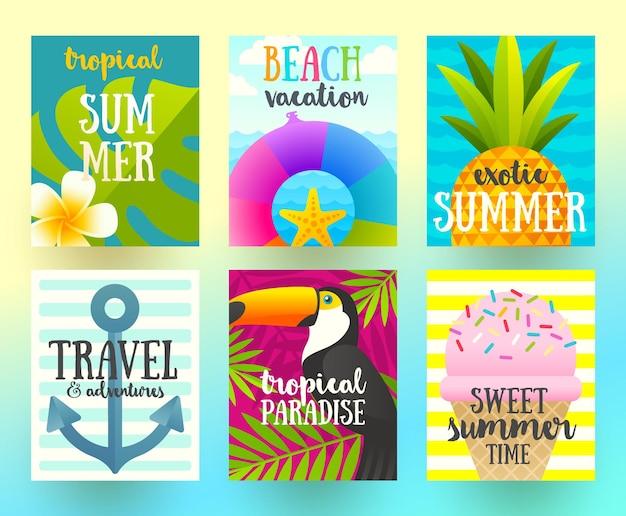 Набор плакатов летних каникул и тропических каникул или поздравительной открытки Premium векторы