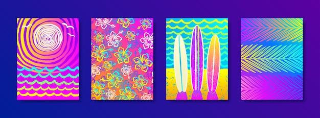 Набор летних каникул и каникул разноцветный фон